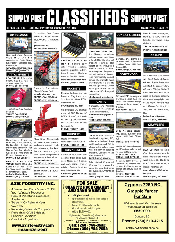 Classified ads in Supply Post print edition