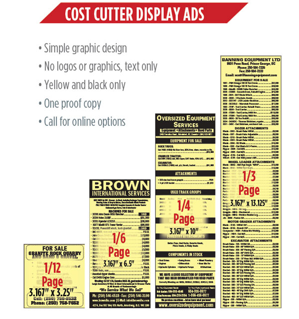 Cost Cutter display ads in the Supply Post print edition